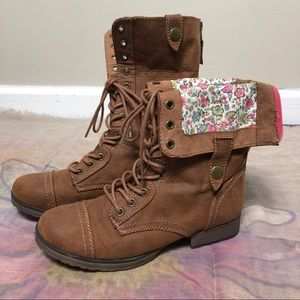 Tan boots with floral fabric!